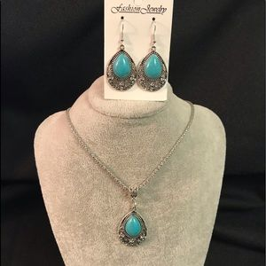 Jewelry - Turquoise Color Necklace & Earrings Set